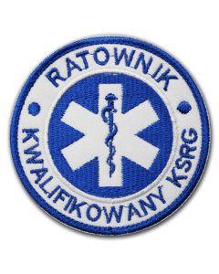 Haftowana biała naszywka ratownicza eskulap niebieski 85mm
