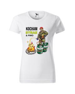 Kocham STRAŻ i PIWO, koszulka  STRAŻACKA z nadrukiem DTG0003