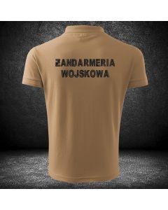 Koszulka piaskowa t-shirt o wysokiej gramaturze dla funkcjonariuszy ŻANDARMERII WOJSKOWEJ z haftowanym napisem ŻANDARMERIA WOJSKOWA
