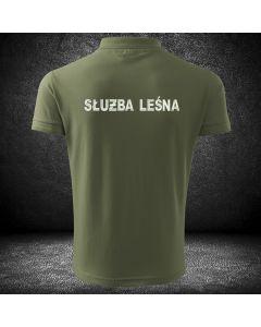 Koszulka dla straży Leśnej z haftowanymi napisami na plecach i na piersi.