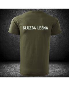 Koszulka straż leśna z haftowanymi napisami na plecach i piersi