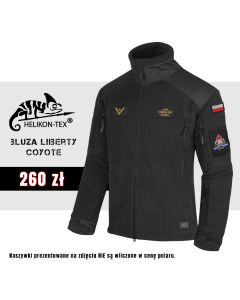 Helikon Liberty czarny polar strażacki SZARY NAPIS haft