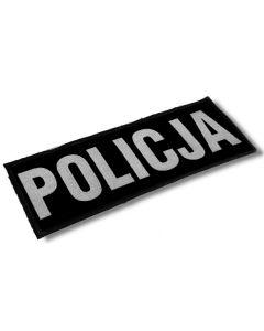 naszywka POLICJA, podszyta rzepem, polar, szary napis