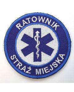 Haftowana biała naszywka Ratownik medyczny Kierowca 85mm