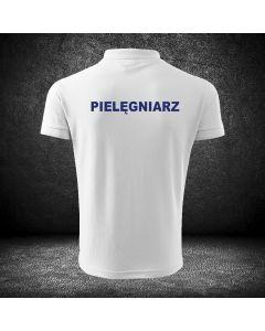 Biała koszulka polo ratownictwo medyczne druk