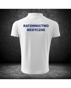 Haftowana koszulka z napisem na plecach RATOWNIK MEDYCZNY. Koszulka z haftowanym logo na piersi z możliwością dodania własnych napisów.