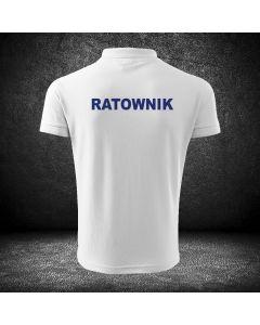 Biała koszulka polo PIELĘGNIARZ druk