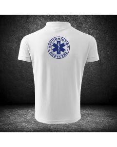 Biała koszulka polo RATOWNIK druk