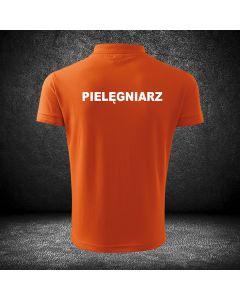 Chabrowa koszulka polo PIELĘGNIARZ druk