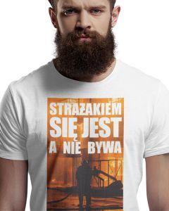 Najlepszy strażak we wsi, męska koszulka  STRAŻACKA z nadrukiem DTG0025