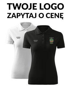 Damska koszulka polo biała czarna straż indywidualne logo