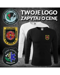 Koszulka DŁUGI RĘKAW STRAŻ POŻARNA koszulka strażacka OSP PSP, LONGSLEEVE DRUK szary napis
