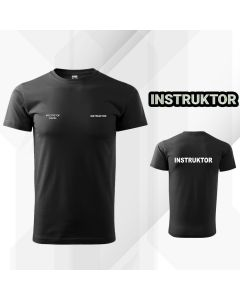 Czarna drukowana Koszulka T-SHIRT INSTRUKTOR Polski Związek Strzelectwa Sportowego PZSS druk DTG