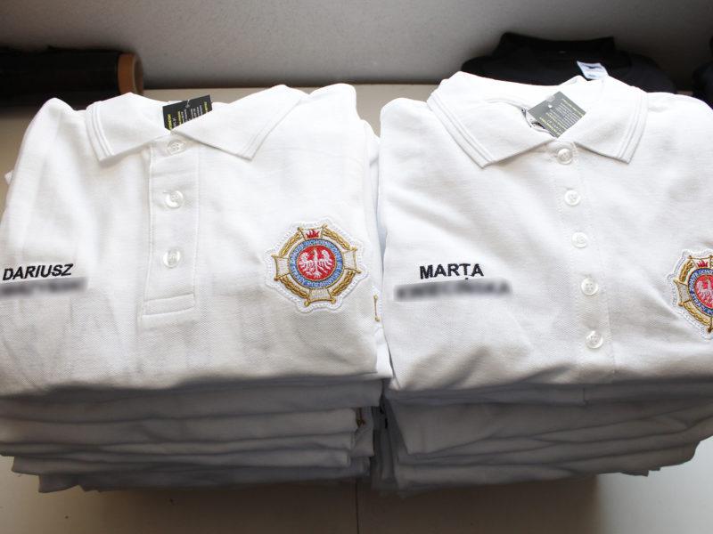 Białe koszulki strażackie polo męskie i damskie dla OSP Bargłów Kościelny