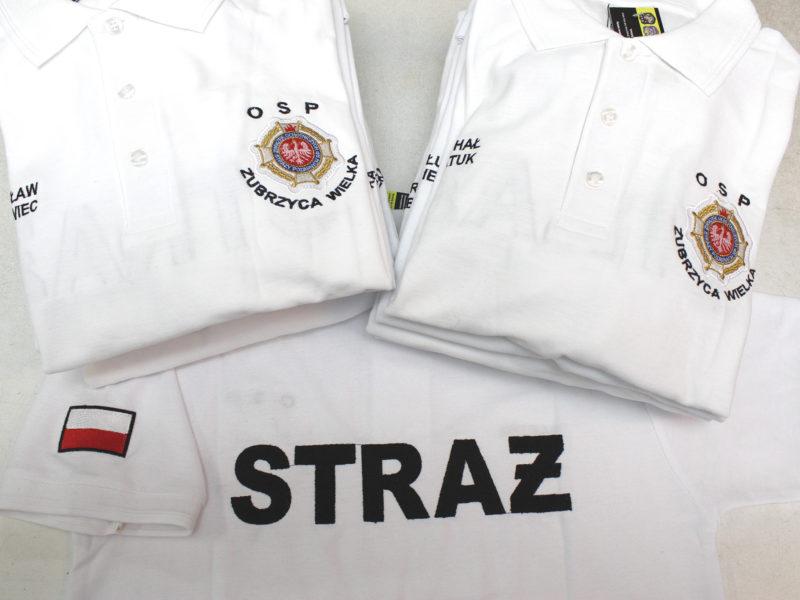 Piękne białe koszulki polo dla OSP KSRG Zubrzyca Wielka