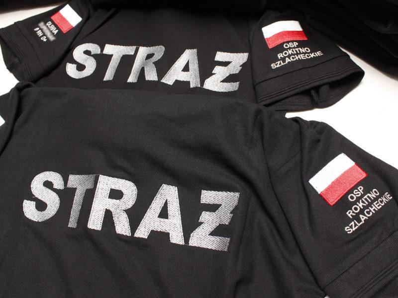 Damskie i męskie koszulki polo strażackie z wieloma dodatkowymi napisami dla Ochotnicza Straż Pożarna Rokitno Szlacheckie.