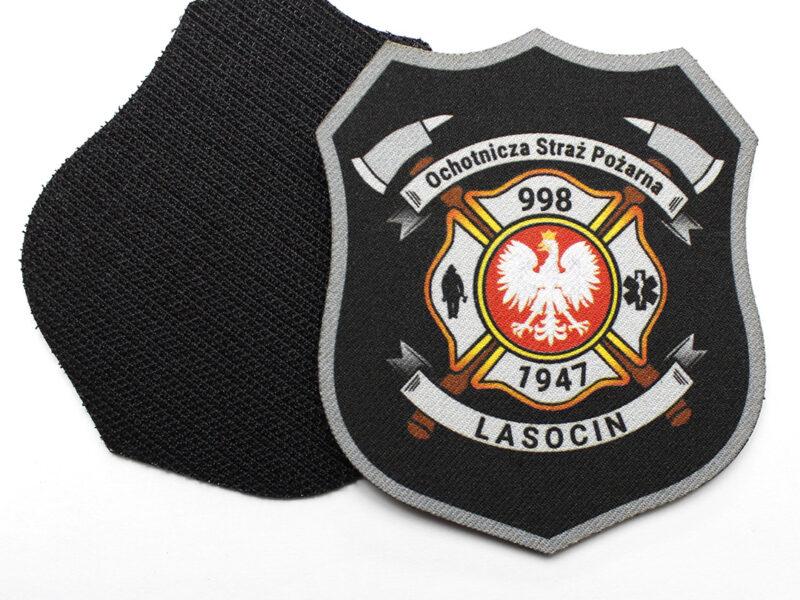 Naszywka dla Ochotniczej Straży Pożarnej w Lasocinie, drukowana z rzepem